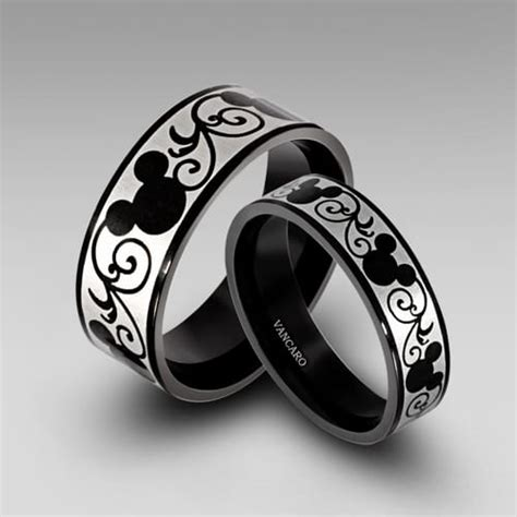 mickey mouse wedding rings black rings