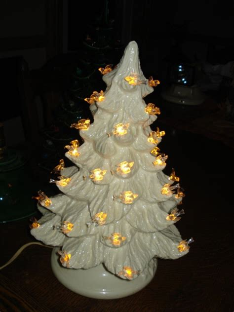 vintage white ceramic lighted tree 11 quot with