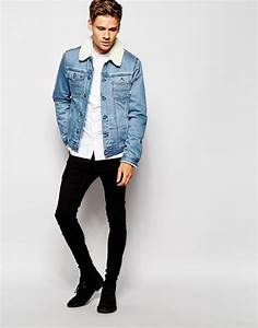 Back on the agenda for AW15 is the borg-collared denim jacket. Wear yours with a simple white ...
