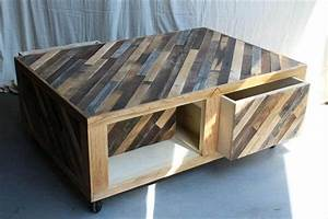 Pallet coffee table wheels and storage 101 pallets for Coffee table with wheels and storage