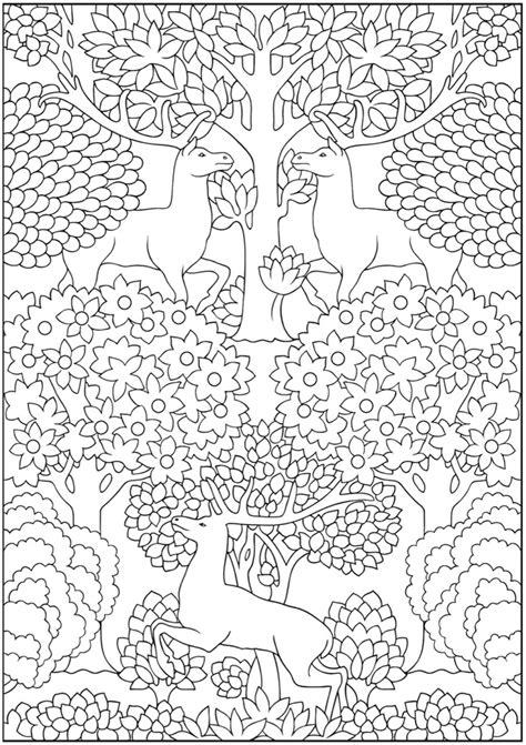 Jugendstil Kleurplaat by Dover Creative Nouveau Animal Coloring