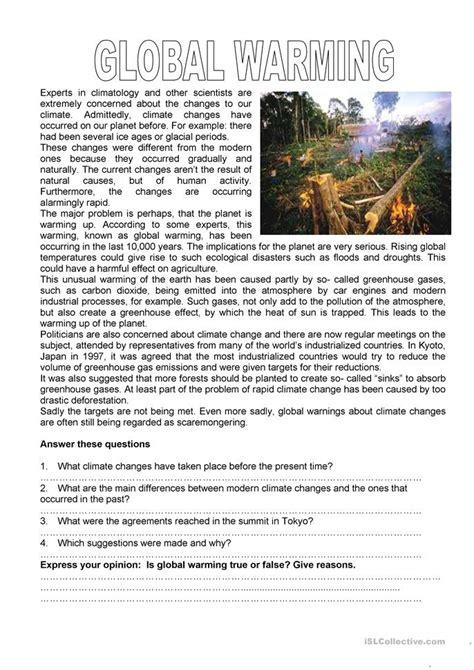 15 free esl global warming worksheets