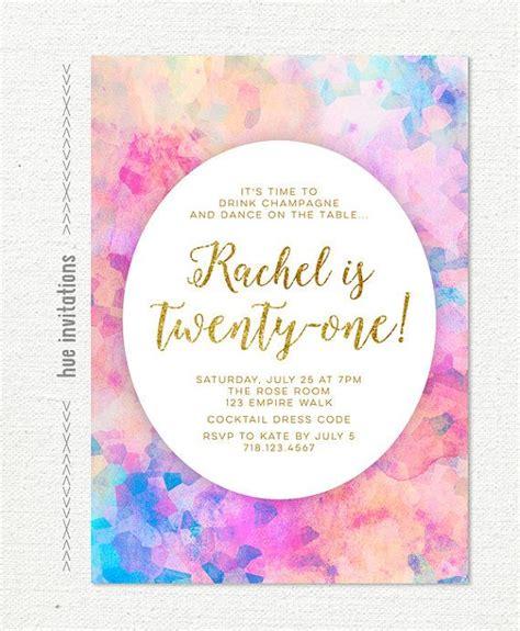 rainbow watercolor 21st birthday party invitation