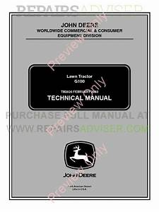 John Deere Lawn Tractor G100 Technical Manual Tm