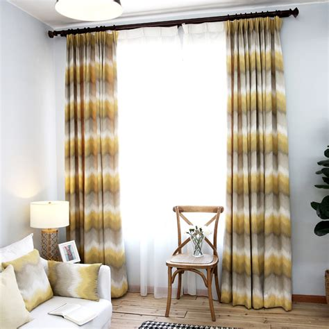 patio window curtains yellow and grey ombre chevron jacquard poly cotton blend