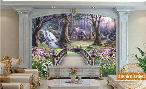 custom cartoon children wallpaper mural bridge  fantasy