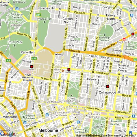 Map of Carlton, Victoria   Hotels Accommodation