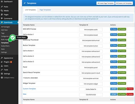 templates wordpress  manager