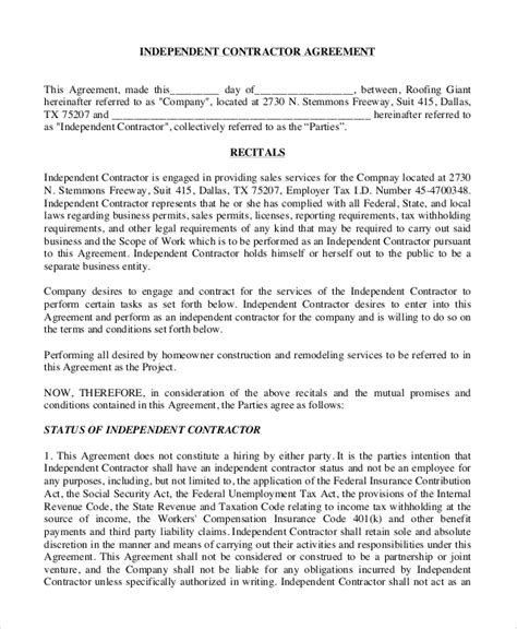 sample independent contractor agreement  examples