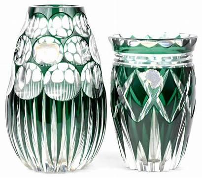Kristal Groene Vazen Geslepen Twee Gemerkt Jordaens