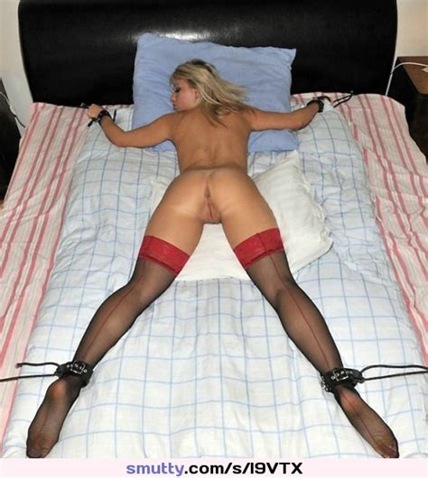 Bound Amateur Spread Bed Ass Milf Stockings Cuffs