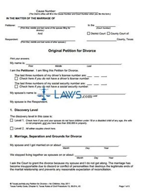 texas divorce forms without child form original petition for divorce without children