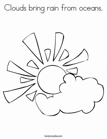 Clouds Coloring Sun Cloud Rain Pages Drawing