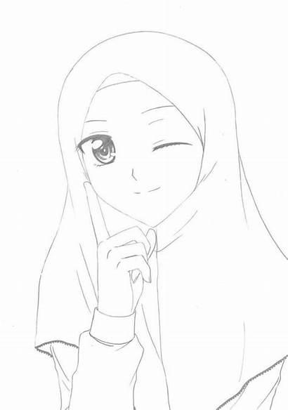 Kartun Gambar Wanita Sketsa Anime Muslimah Muslim
