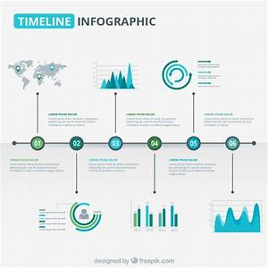 Modern timeline graphic in blue and green tones Vector ...