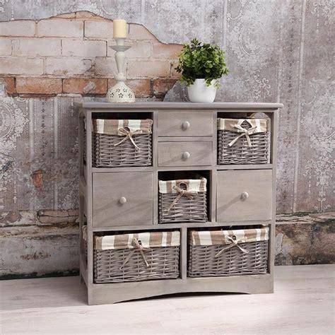 commode en bois de commode grise style ancien en bois 4 tiroirs et 5 paniers