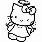 Kitty Hello Coloring Pages Angel Drawing Cat Printable Colouring Devil Draw Tattoos Cartoon Angels Step Dragoart Sheets Kid Cute Books sketch template