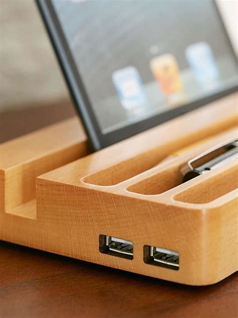 wooden charging station   usb ports  integrated