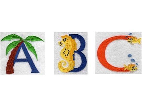 machine embroidery designs beach alphabet set