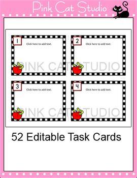 editable task cards template apple theme  pink cat