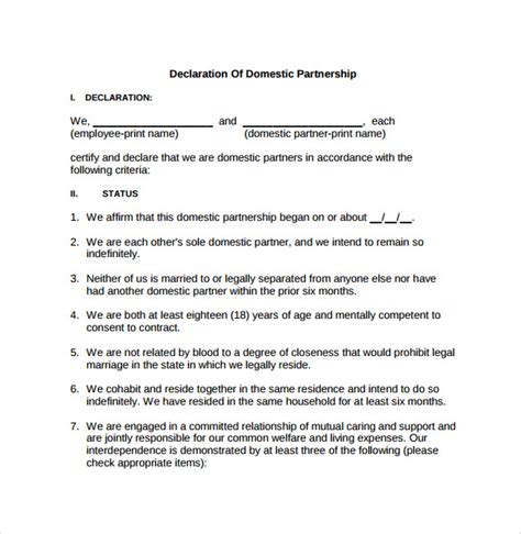 domestic partnership agreements   sample
