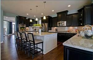 Espresso cabinets white island kitchen decor for Kitchen colors with white cabinets with wall art large canvas prints