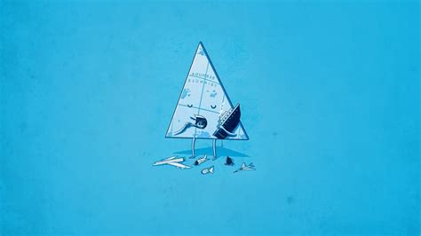 Simple Anime Wallpaper - threadless blue minimalism simple triangle anime