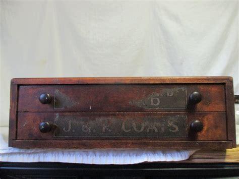 Antique Spool Cabinet Labels by Antique Mercantile Wooden J P Coats Countertop Spool