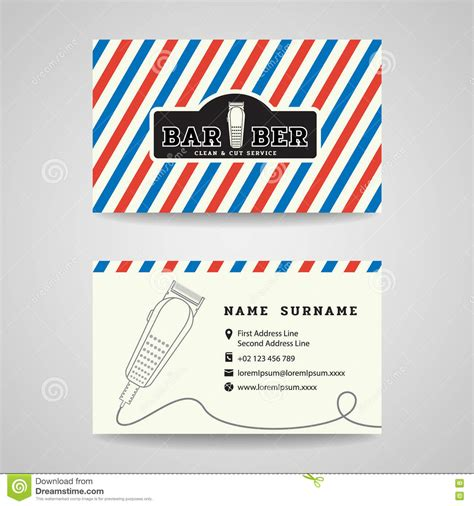 business card barber shop  hair clippers logo vector