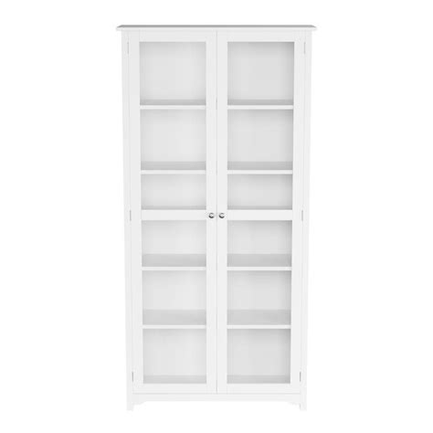 White Bookcase With Doors by Home Decorators Collection Oxford White Glass Door