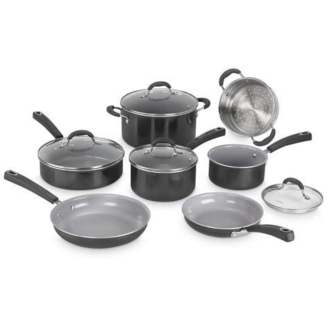 cuisinart advantage ceramica xt  stick  piece black cookware set  bk  home depot