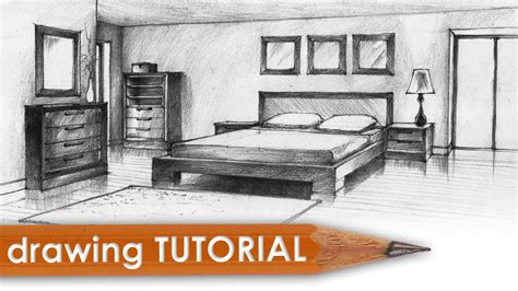 drawing tutorial room   point perspective bedroom
