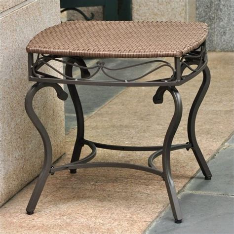 resin outdoor side table resin wicker steel patio side table 4112 st abn