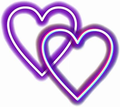 Transparent Neon Purple Hearts Glitch Heart Clipart