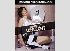 Frau auf Toilette Liebe geht durch den Magen Spruch