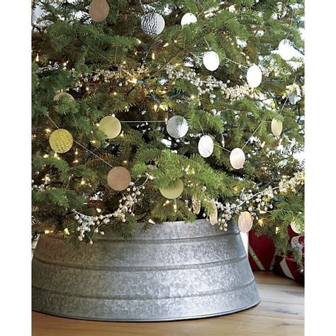 christmas tree in galvanized tub how to make a tree skirt out of a galvanized tub crate barrel inspired holliday decor