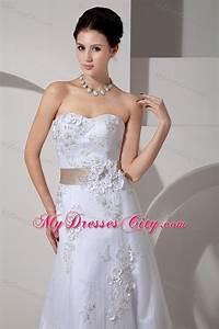 stylish long strapless slinky lace belt wedding gown with With wedding dress jewelry