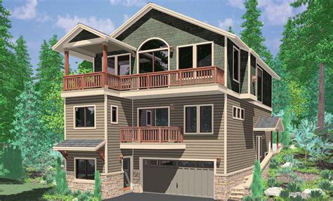 three story home plans hillside home plans with basement sloping lot house plans