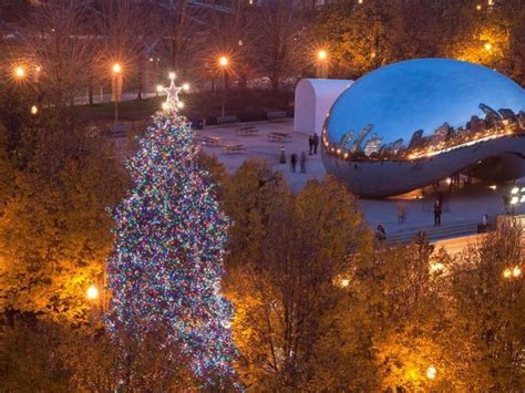 millennium park christmas lights chicago christmas tree lighting ceremony when to see it