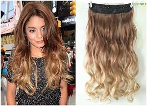 Dip dye Clip in on Ombre Hair Extensions Synthetic Light ...