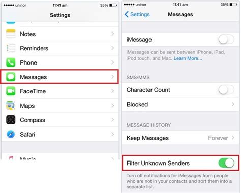 how to turn on imessage on iphone disable turn imessage for not saved contacts in iphone