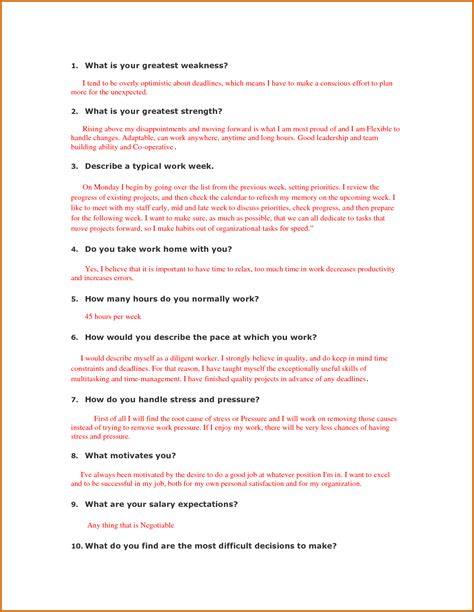 Questions Strengths And Weaknesses Exles by 8 Question And Answer Exles Lease Template