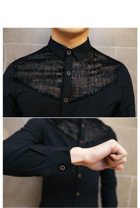 korean fashion slim fit mens lace shirt long sleeve men