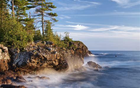 fonds decran canada lac superieur arbres rochers