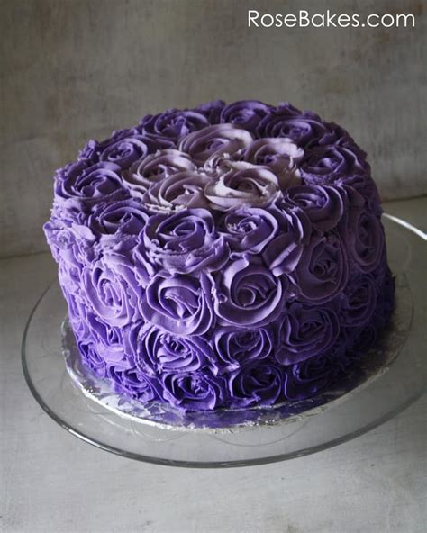 Purple Cake Decorating Ideas - purple ombre buttercream roses birthday cake bakes