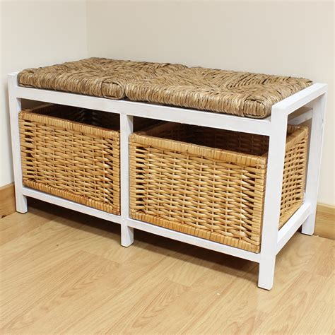bench with storage baskets hartleys farmhouse wicker cushion bench seat storage