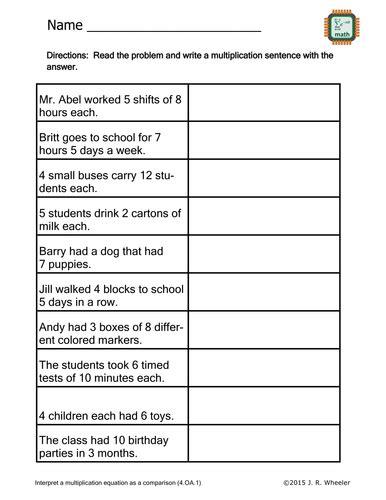 create multiplication sentences worksheet 4 oa 1 by