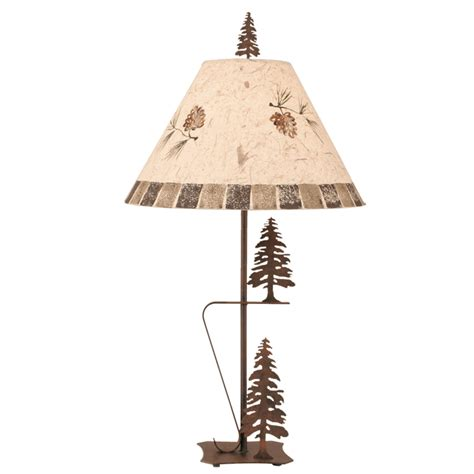 pine cone l shade cauterized steel tree duo table l with pine cone shade