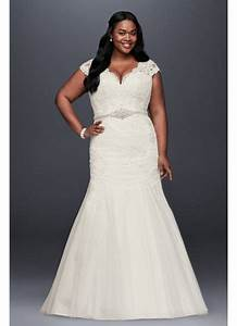 scalloped lace trumpet plus size wedding dress david39s With plus size trumpet wedding dress