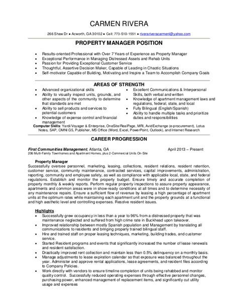 Apartment Property Manager Resume by Property Manager Resume Rivera 2015